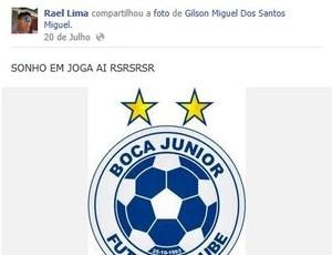Rael sonha em jogar no Boca Júnior (Foto: Reprodução / Facebook)