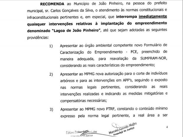 MPMG recomenda município de João Pinheiro a interromper construção de Lagoa de João Pinheiro (Foto: Reprodução)