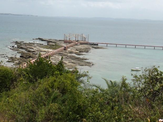 Ponte em construção na Ilha dos Frades. (Foto: Maiana Belo/G1 BA)