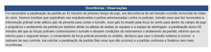 Árbitro cita os incidentes na súmula da partida (Foto: Reprodução/CBF)