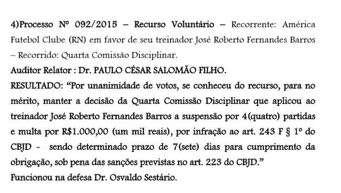 STJD mantém punição a Roberto Fernandes - técnico do América-RN (Foto: Reprodução)