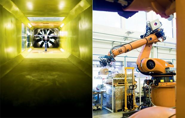 Túnel de vento  (à esq.) e laboratório de automação no ITA:  escola quer construir dois centros de inovação (Foto: Claus Lehmann)