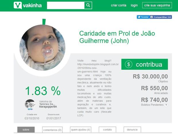 Campanha pretende arrecadar fundos para tratamento de criança (Foto: Reprodução/ Vakinha)