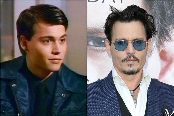 Um dos atores mais bem sucedidos dos anos 80 é com certeza Johnny Depp. Ele ficou famoso na série 'Anjos da Lei', que foi ao ar entre os anos de 1987 e 1991.  (Foto: Getty Images e Reprodução)