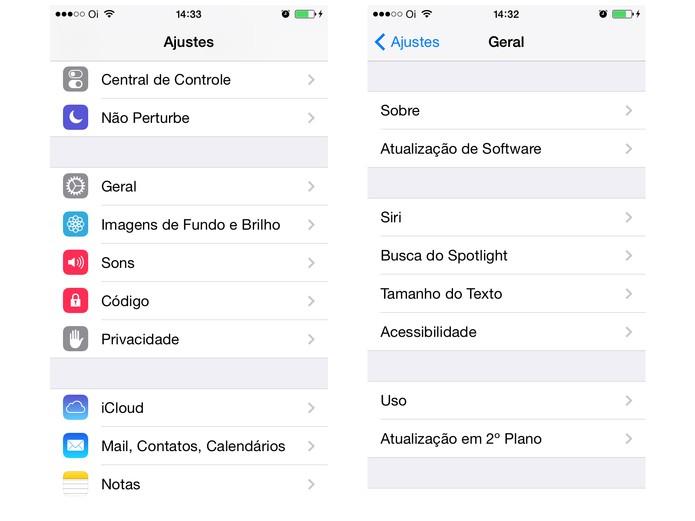 Configurações do iOS (Foto: Reprodução/ Apple)