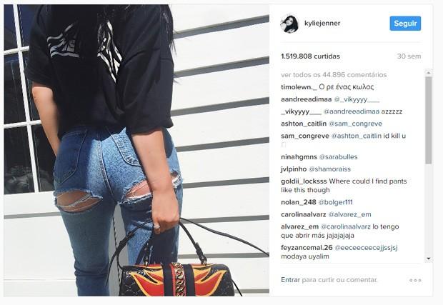 Kylie clicou sua peça fashionista (Foto: Reprodução / Instagram)