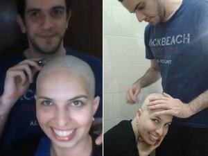 Lívia raspou os cabelos com a ajuda do namorado Luiz Fabiano (Foto: Arquivo pessoal)