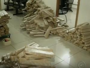 Diversos tabletes de maconha foram apreendidos pela polícia. (Foto: Reprodução/TV TEM)