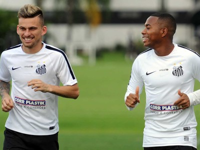 Lucas Lima e Robinho, Santos (Foto: Ivan Storti/ Santos FC)