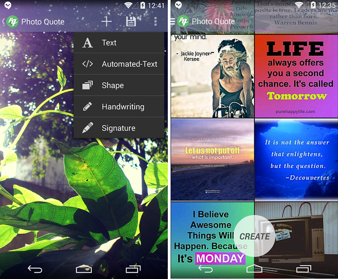 Photo Quote é um app para inserir textos em imagens (Foto: Reprodução/Photo Quote)