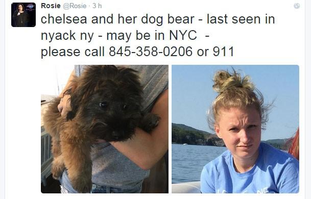 Imagens publicada por Rosie O'Donnell no Twitter mostram sua filha Chelsea e o cão da garota, que está desaparecida (Foto: Reprodução/Twitter/Rosie)
