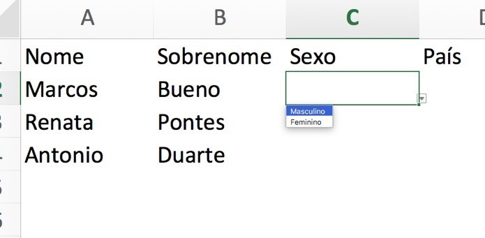 Crie um menu suspenso no Excel (Foto: Reprodução/André Sugai)