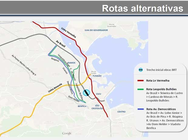 Prefeitura divulgou rotas alternativas (Foto: Divulgação / CET-Rio)