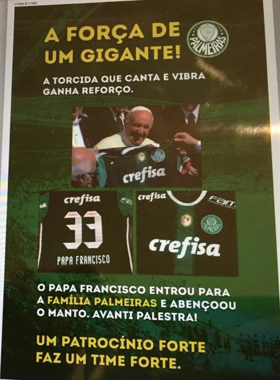 Propaganda da Crefisa em jornal de São Paulo usa imagem do Papa Francisco (Foto: reprodução )