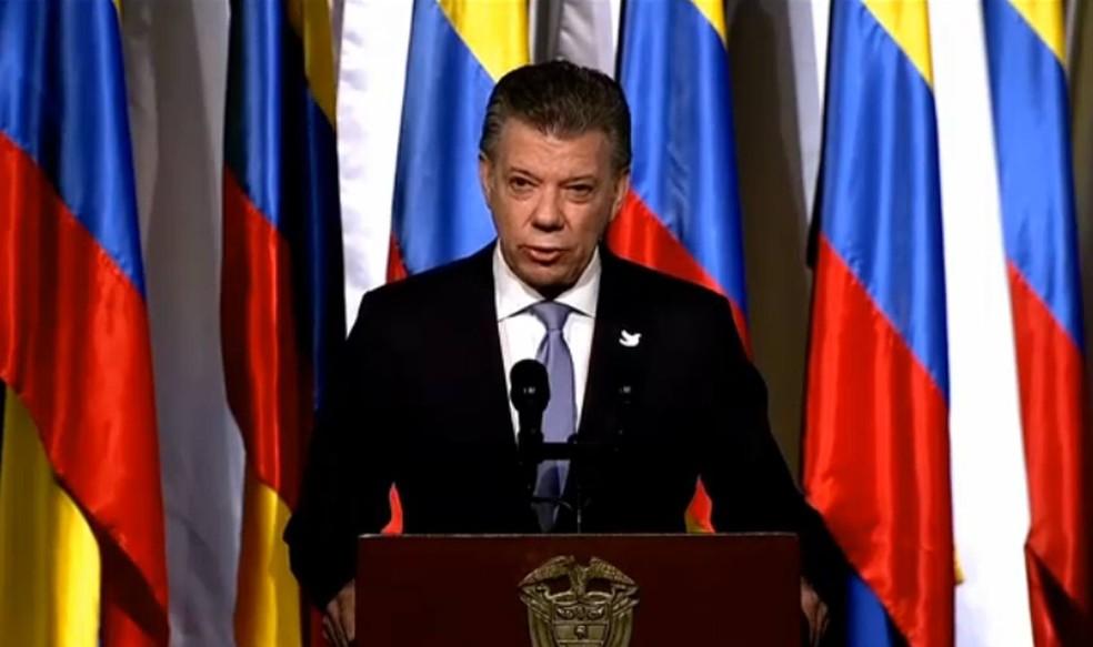 Presidente da Colômbia, Juan Manuel Santos, discursa durante assinatura de novo acordo com as Farc (Foto: Reprodução/Presidência da Colômbia)