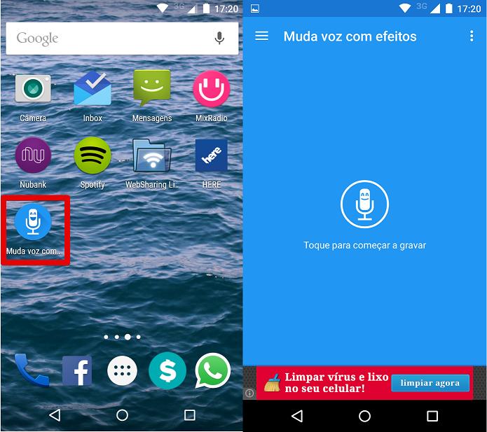 Abrindo o app Muda Voz no smartphone (Foto: Felipe Alencar/TechTudo)