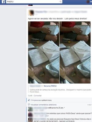 Usuários denunciaram vazamento de fotos da prova em grupo de rede social (Foto: Reprodução/ Facebook)