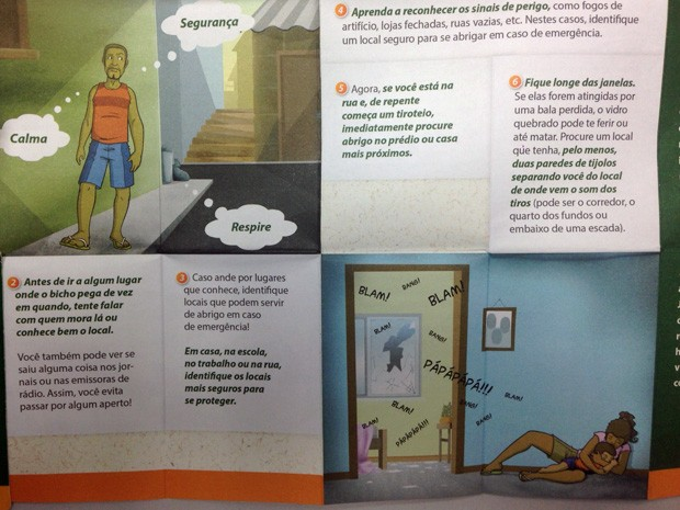 Panfleto explica como moradores de comunidades do Rio podem ter comportamento mais seguro (Foto: Reprodução)