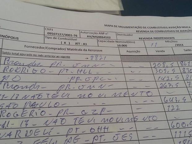 Documento prova que abastecimento foi feiro em Divinópolis (Foto: Anna Lúcia Silva/G1)