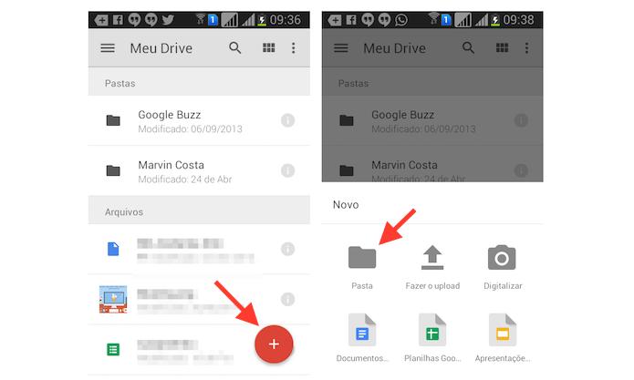Iniciando a criação de uma pasta no Google Drive para Android (Foto: Reprodução/Marvin Costa)
