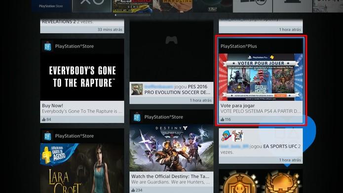 A seção Novidades do PS4 conta com um atalho para a votação (Foto: Reprodução/Cássio Barbosa)