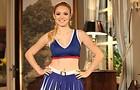 Megan combinou o uniforme com tênis dourado (Foto: Geração Brasil / TV Globo)