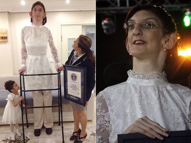 Rumeysa Gelgi, de 2,13 metros, ganha o título de adolescente mais alta do mundo (Foto: Divulgação/Guinness World of Records)