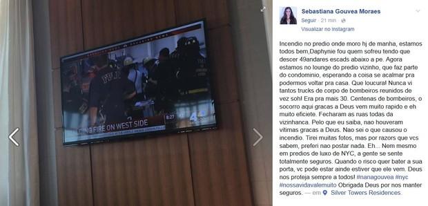 Nana Gouvêa relata incêndio em prédio (Foto: Reprodução / Facebook)