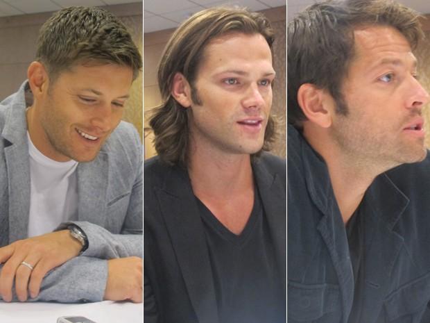 Jensen Ackles, Misha Collins e Jaren Padalecki comentaram o 8º ano de 'Supernatural' (Foto: Gustavo Miller/G1)