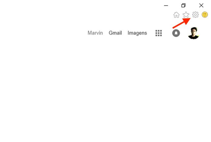 Clicando sobre o ícone de engrenagem para acessar as configurações do Internet Explorer (Foto: Reprodução/Marvin Costa)