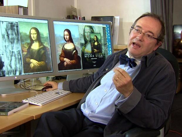 """Pascal Cotte, cientista francês, afirma ter descoberto indícios da pintura de outra mulher sobre o quadro """"Mona Lisa"""", de Leonardo da Vinci (Foto: BBC)"""