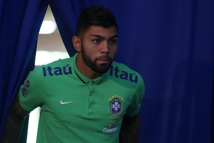 Atacante Gabriel em entrevista coletiva da seleção brasileira (Foto: Lucas Figueiredo / MoWA Press)