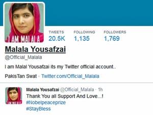 Malala Yousafzai agradeceu o Prêmio Nobel pelo Twitter (Foto: Reprodução/Twitter)