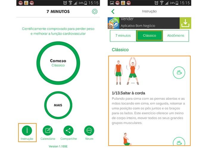 Conheça todos os exercícios propostos pelo app 7 minutos treino (Foto: Reprodução/Barbara Mannara)