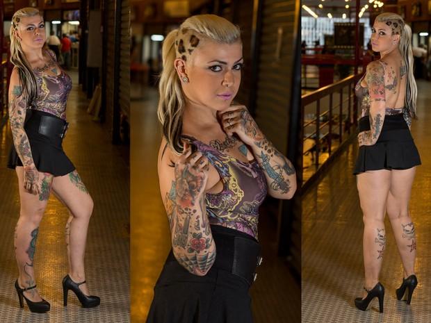 Bel Boreck tem 27 anos e quer mostrar que mulher tatuada é tão bonita com as outras (Foto: Flávio Moraes/G1)
