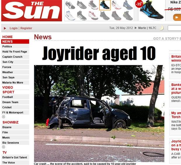 Um menino de dez anos pegou o carro dos pais, mas acabou batendo o veículo. (Foto: Reprodução/The Sun)