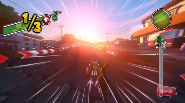 Chaves usa um turbo para ganhar velocidade no game 'El Chavo Kart' (Foto: Divulgação/Slang)