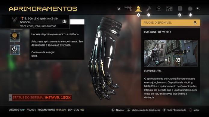 Deus Ex: Mankind Divided: use os praxis para desbloquear as novas habilidades experimentais (Foto: Reprodução/Victor Teixeira)