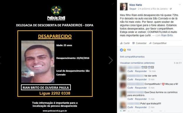 Nizo Neto procura filho desaparecido (Foto: Reprodução/Facebook)