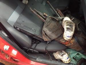 Equipamento usado pelos assaltantes foi apreendido pela Polícia (Foto: Patrícia Andrade/G1)