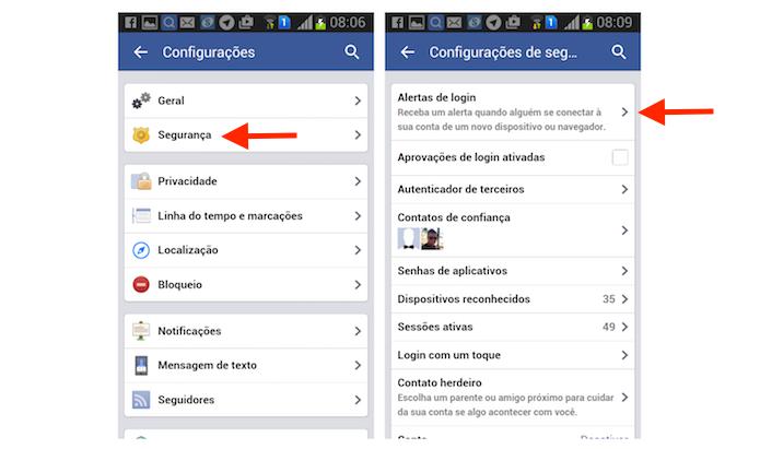 Acessando a ferramenta para alertas de login do Facebook pelo Android (Foto: Reprodução/Marvin Costa)