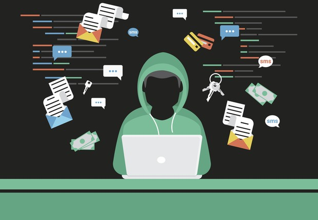 Faceless thief or hacker stealing login password, money, email, privat messages and credit cards using virus. Flat criminal illustration of hacker coding bug to hack data. Internet security of thief (Foto: Getty Images/iStockphoto)