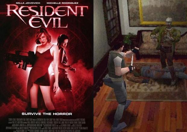 'Resident Evil', o filme (à esq.) em contraste com cena do primeiro game da série de 1996 (Foto: Divulgação/IMDB/Capcom)