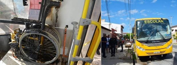 Em Mossoró, um ônibus escolar foi parcialmente queimado (Foto: Alcivan Vilar/Fim da Linha )