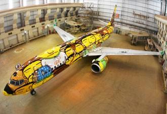 'Os Gêmeos' pintam avião que transportará os jogadores da seleção brasileira (Foto: Divulgação)