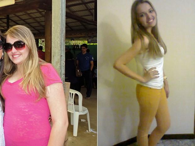 Fotos mostram Fernanda com 80 kg e atualmente com 57 kg; jovem mudou a alimentação para recuperar a forma (Foto: Arquivo pessoal)