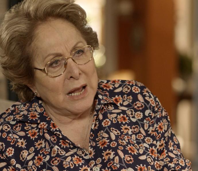 Geppina diz para Vittorio que sabe da filha de Lenita (Foto: TV Globo)