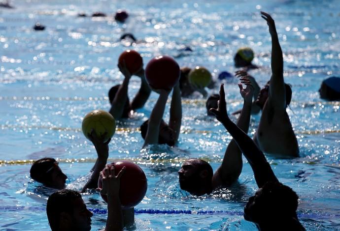 Preparação física - seleção brasileira de polo aquático (Foto: Satiro Sodré/SSPRESS)
