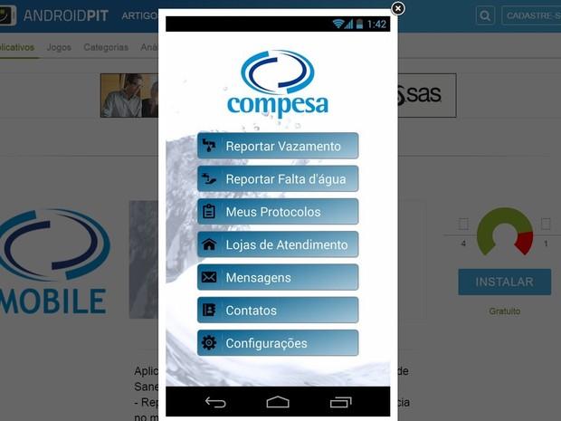 Aplicativo Compesa, Pernambuco (Foto: Reprodução/Portal/Compesa)