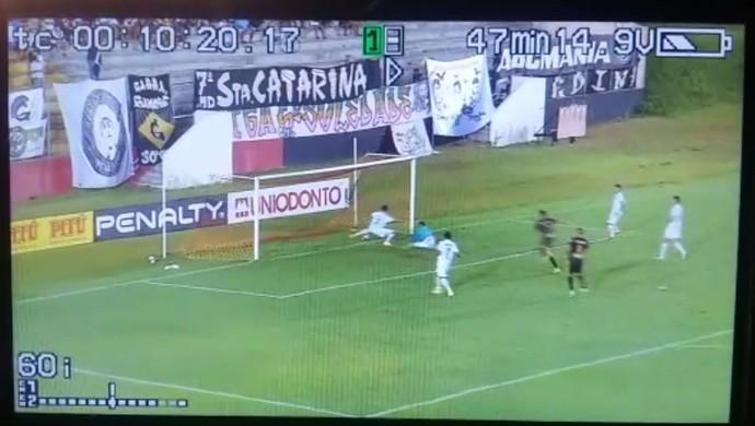 gol Erick Globo FC x ABC (Foto: Gilmar Santos/Reprodução)